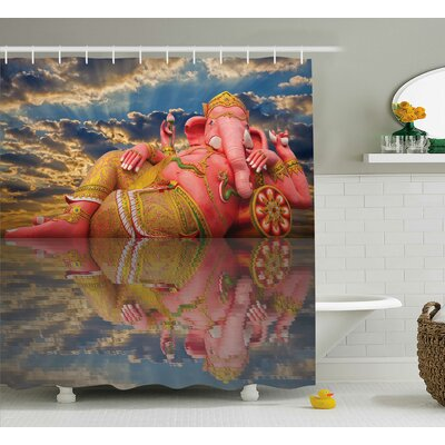 Mejia Indian Chubby Statue of Indian Elephant Goddess on Beach Thailand Sunset Sky Wisdom Shower Curtain Size: 69 W x 75 H