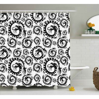 Bouloupariset Dragon Antique Art Chinese Dragon Pattern Decorative Vintage Illustration Print Shower Curtain Size: 69 W x 70 H