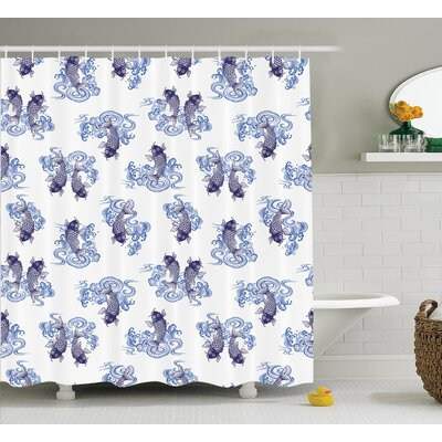 Ouindo Underwater Creature Figure As Love Couples on Waves Japanese Unique Sea Print Shower Curtain Size: 69 W x 70 H