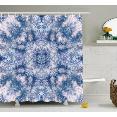 Piero Tie Dye Symbolic Oriental Life of Flower Figure With Blurry Tones Boho Style Print Shower Curtain Size: 69 W x 75 H