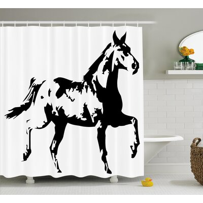 Frankston Animal Theme a Running Horse Silhouette Illustration Monochrome Style Shower Curtain Size: 69 W x 70 H