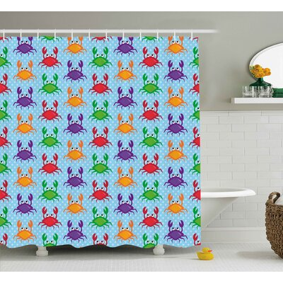Christi Cartoon Style Illustration of Crabs on Blue Background With Bubbles Print Shower Curtain Size: 69 W x 70 H