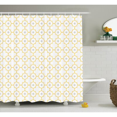 Lynn Quatrefoil Moroccan Lattice Pattern Dots Shower Curtain Size: 69 W x 70 H
