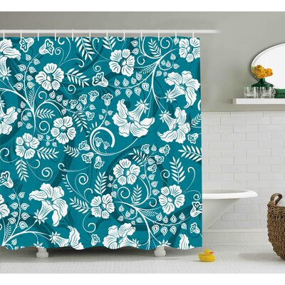 Trista Floral Romantic Modern Design With Beams Blossoms Leaves Flowers Image Shower Curtain Size: 69 W x 70 H