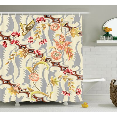 Brandt Japanese Garden Inspired Swirling Spring Flowers Design Shower Curtain Size: 69 W x 70 H