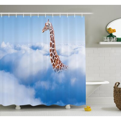 Klong Giraffe Aerial Scene of a Flying Animal Shower Curtain Size: 69 W x 70 H