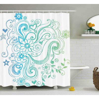 Tess Rainbow Colored Ombre Sketch Design With Florals Blossom Ivy Leaves Shower Curtain Size: 69 W x 70 H