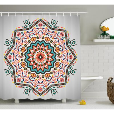 Nichole Tribal Abstract Aztec Style Kaleidoscope Theme Boho Indian Sun Pattern Art Shower Curtain Size: 69 W x 70 H