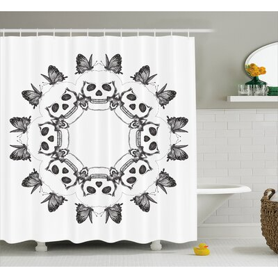 Mary Mandala Gothic Trippy Circular Dead Skull Bones Heads With Butterflies Sacred Life Image Shower Curtain Size: 69 W x 70 H