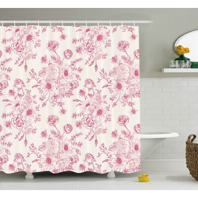 Tessa Romantic Rose Flower Bouquet Blooms Shower Curtain Size: 69 W x 70 H