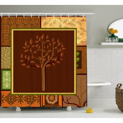 Naarden Tree on African Tribal Leaf Floral Ornaments Native Folkloric Patterns Shower Curtain Size: 69 W x 70 H