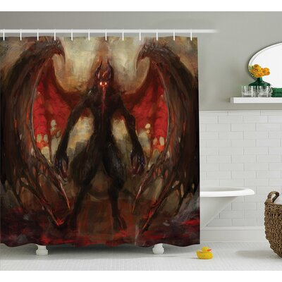 Fantasy World Devil Shadow With Wing Primary Opponent of God Hell Afterlife Flame Image Shower Curtain Size: 69 W x 75 H