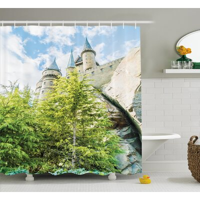 Cline Witchcraft School and Wizard Castle In Woods Replica Shower Curtain Size: 69 W x 70 H