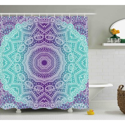 Janie Purple and Turquoise Hippie Ombre Mandala Inner Peace and Meditation With Ornamental Art Shower Curtain Size: 69 W x 70 H