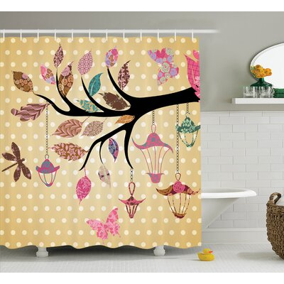 Ingrid Tree Branch With Original Lantern and Ethnic Leaves on Polka Dots Backdrop Decor Shower Curtain Size: 69 W x 75 H