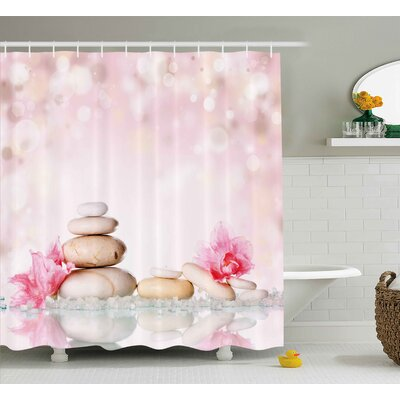 Shaleine Spa Bohemian Zen Stones and Soft Petals Therapy Tradition Chakra Yoga Asian Picture Shower Curtain Size: 69 W x 70 H