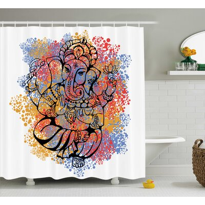 Mesta Indian Religious Elephant God With Arms on Color Paint Splash Art Print Floral Boho Decor Shower Curtain Size: 69 W x 75 H
