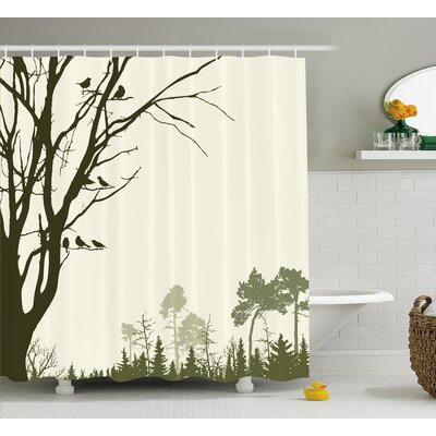 Buragate Nature Theme The Panorama of a Forest Pattern Birds on Tree Branches Shower Curtain Size: 69 W x 70 H