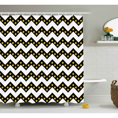 Maryann Chevron Black Zig Zag Pattern With Inner Stars Parallel Striped Trendy Lines Artful Print Shower Curtain Size: 69 W x 70 H