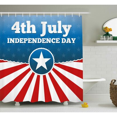 4th of July Proud to Be American Inspirational Quote With Cute Cat Kitty Animal Design Shower Curtain Size: 69 W x 70 H