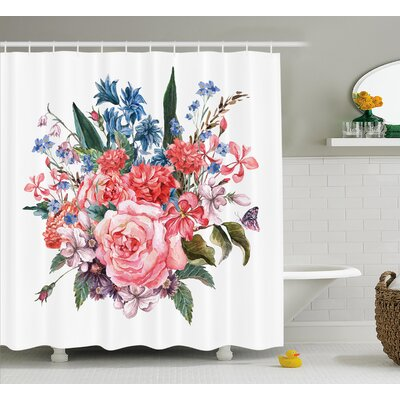 Norman Bouquet of Garden Mountain Flowers With Roses Daisises Buds and Leaves Print Shower Curtain Size: 69 W x 70 H