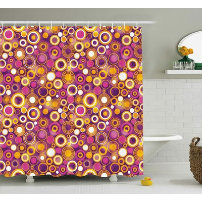Angelina Geometric Retro 70S Like Vintage Circles and Rounds Water Drops Like Image Artwork Shower Curtain Size: 69 W x 70 H