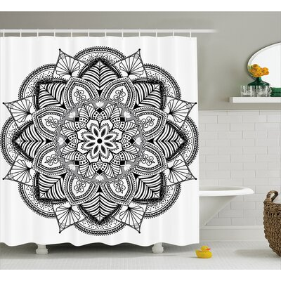 Barbara Mandala Ringed Ethnic Floral Pattern With Ornate Tile and Lines Boho Circle Home Art Shower Curtain Size: 69 W x 70 H