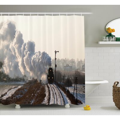 Tillson Steam Engine Train on Rails Winter Snow Landscape Steel Industrial Theme Rural Town Print Shower Curtain Size: 69 W x 75 H