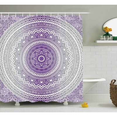 Genevieve Grey and Purple Eastern Traditional of Cosmos Pattern Zen Boho Ombre Mandala Design Print Shower Curtain Size: 69 W x 70 H