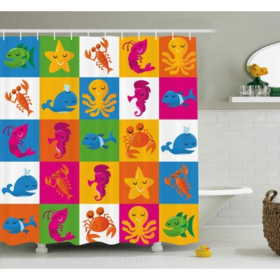 Lara Cute Underwater Animals Sea Octopus Crab Whale Starfish Dolphin Prawn Illustration Shower Curtain Size: 69 W x 70 H