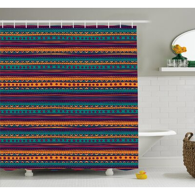Sandy Tribal Striped Retro Aztec Pattern With Rich Mexican Ethnic Color Folkloric Print Shower Curtain Size: 69 W x 70 H