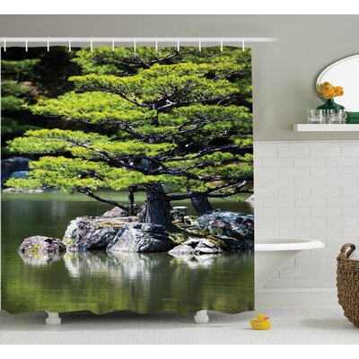 Glenn Pine Tree Lake With Stones Japanese Organic Nature Scenery With Asia Garden Theme Shower Curtain Size: 69 W x 70 H