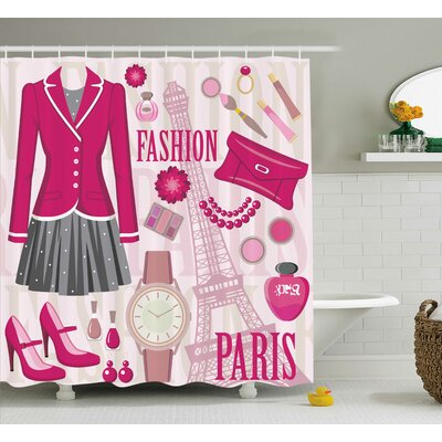 Tracy Girly Fashion Theme Shower Curtain Size: 69 W x 75 H