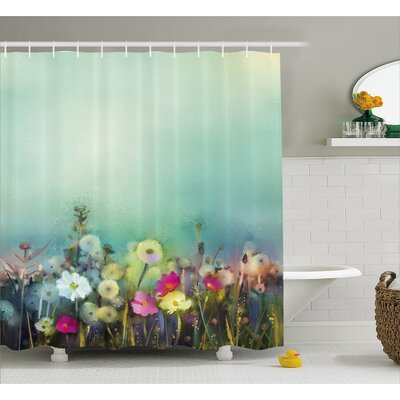 Kathi Poppy Daisy Chamomile Patterns Shower Curtain Size: 69 W x 75 H