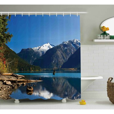 Derwin Landscape Mountain Countryside Winter Time Lake Mountain Forest View Photo Shower Curtain Size: 69 W x 70 H
