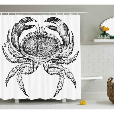 Angelia Crabs Seafood Theme Design Vintage Engraved Illustration of An Edible Crab Print Shower Curtain Size: 69 W x 70 H