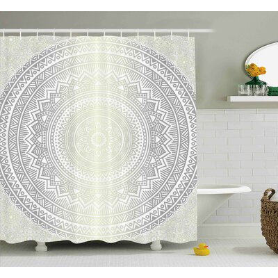 Candace Grey and White Medallion Pattern Round Shape Mandala Hippie Ombre Retro Culture Design Shower Curtain Size: 69 W x 70 H