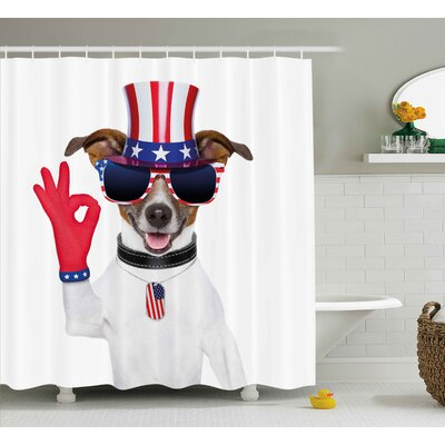 4th of July I Love Usa Motivational Phrase With Heart Figure National Love Image Shower Curtain Size: 69 W x 70 H