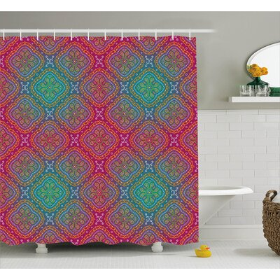 Cindy Bohemian Paisley Ethnic Indian Royal Colors Ombre Print Oriental Floral Art Shower Curtain Size: 69 W x 75 H