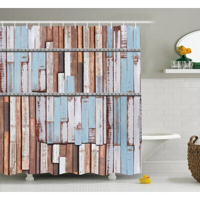 Ariadne Rustic Long Wooden Planks Tree Designs on With Rusty Metal Screws Artwork Shower Curtain Size: 69 W x 70 H