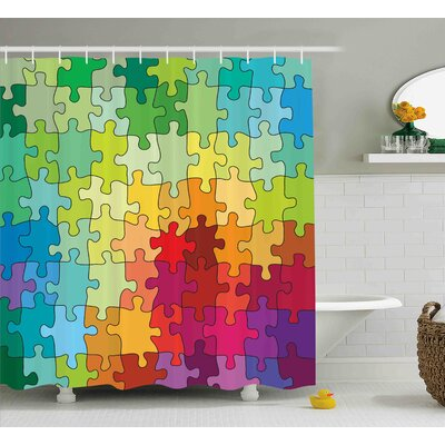 Angelica Abstract Colorful Puzzle Pieces Fractal Children Hobby Activity Leisure Toys Cartoon Image Shower Curtain Size: 69 W x 70 H