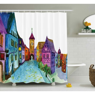 Earline Cartoon European Scenery With Pastel Colored House Lights and Road and Church Image Shower Curtain Size: 69 W x 70 H