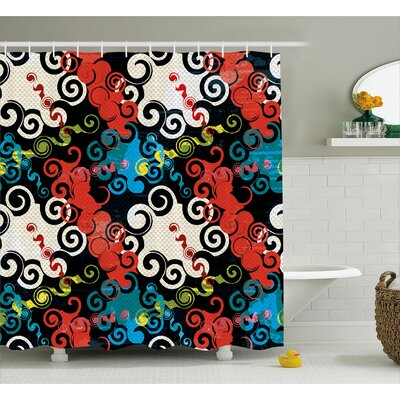 Susanne Dark Spiral Puzzle With Graffiti Inspiration Grunge Style Street Art Culture Image Shower Curtain Size: 69 W x 70 H