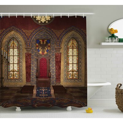 Gothic House Medieval Throne Chapel Eagle Portrait Wall Ancient Fantasy Church Print Shower Curtain Size: 69 W x 84 H