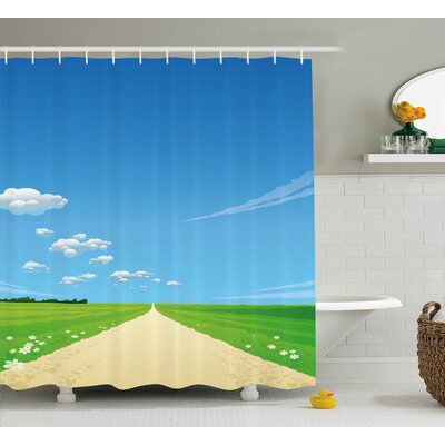 Charlene Nature Path Road Background With Bright Sunny Sky Clouds Daisy Flowers Picture Shower Curtain Size: 69 W x 70 H