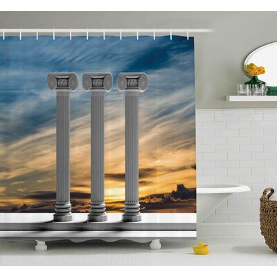 Briana Antique Theme Three Ancient Marble Pillars At Sunset Sky Digital Image Shower Curtain Size: 69 W x 70 H