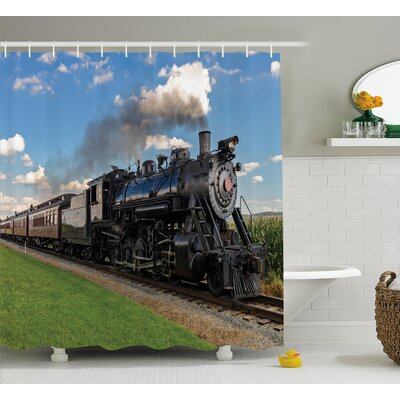 Jacquelyn Steam Engine Vintage Locomotive Shower Curtain Size: 69 W x 75 H