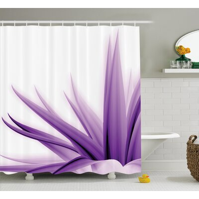 Krista Flower Purple Ombre Long Leaves Water Colored Print With Calming Details Image Shower Curtain Size: 69 W x 70 H