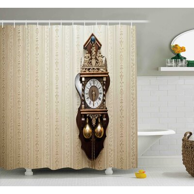 Rowe An Antique Wood Carving Clock With Roman Numerals Hanging on The Wall Design Shower Curtain Size: 69 W x 70 H
