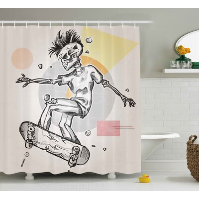 Skull Punk Rocker Skeleton Boy on a Skateboard Skiing With Abstract Background Shower Curtain Size: 69 W x 84 H